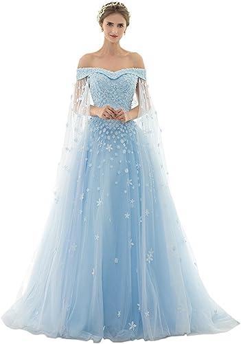 AZNA Damen Prinzessin Spitze Abendkleider Ballkleid Partykleid Hochzeitskleider Lang mit Schleppe