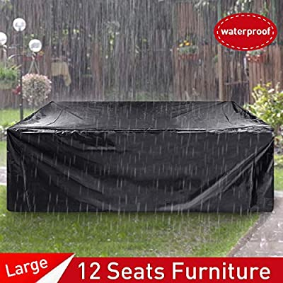 """ESSORT Patio Furniture Covers, Extra Large Outdoor Furniture Set Covers Waterproof, Rain Snow Dust Wind-Proof, Anti-UV, Fits for 12 Seats (124""""x63""""x29"""" 210D)"""