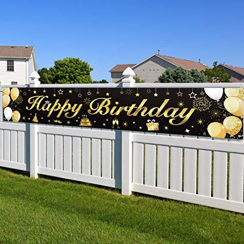 Pancarta de cumpleaños grande de tela negra con purpurina d