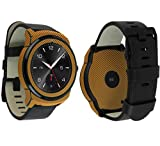 Skinomi Gold Carbon Fiber Full Body Skin Compatible with LG G Watch R (Full Coverage) TechSkin with Anti-Bubble Clear Film Screen Protector