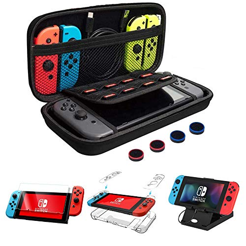 chepula-13-in-1-accessories-bundle-for-nintendo-switch-with-carrying-caseclear-protective-casefoldable-play-stand9h-screen-protectorjoy-con-thumb-grip-caps4-packs-strap