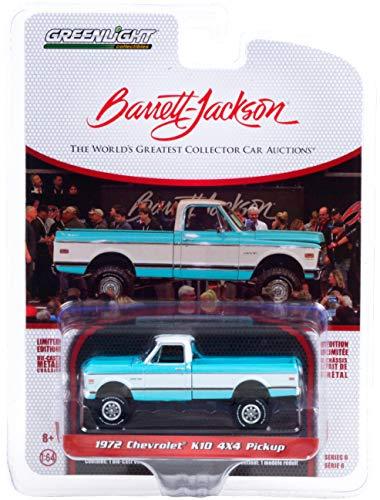 1972 Chevy K10 4X4 Pickup Truck Turquoise & White (Lot #764.1) Barrett Jackson Scottsdale Edition 1/64 Diecast Model Car by Greenlight 37220 D