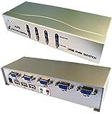 HQ Bargain KVM-Switch mit 4 USB-Anschlüssen, Computer-Switch-Funktion: manuell,...