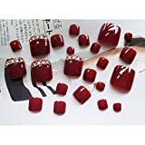 DBSUFV 24 Piezas Uñas postizas Uñas de los pies Uñas postizas Diseños Especiales Parche de Desgaste Cuadrado Corto Pies Kit de Arte de Belleza de uñas