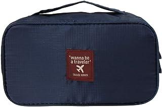 下着 収納ケース 収納ボックス 多機能防水トラベルバッグ洗面用品用品化粧品バッグ収納ボックス包装キューブスーツケース下着収納ボックスブラ収納バッグソックスバッグ (Color : Navy)
