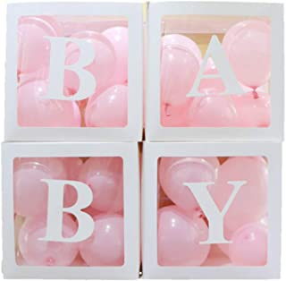 4pcs/Set DIY Transparent Box Latex Balloon Baby Blocks for Boy Girl Baby Shower Wedding Birthday Party Decoration Backdrop