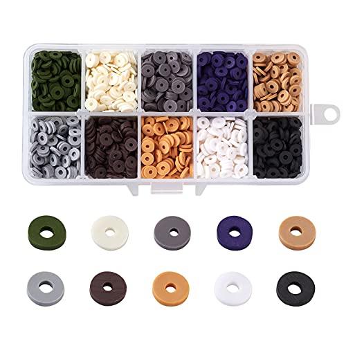 Cheriswelry 2200 cuentas planas redondas de arcilla de polímero hechas a mano con moneda de disco Heishi de 6 mm, espaciadores para hacer pulseras y pendientes