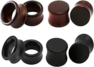 SUPTOP 8pcs Set Wood Plugs and Tunnels for Ears Wooden Gauges Vintage Brown Black Double Flared Saddle Stretchers Set Size 0g-13/16 Inch
