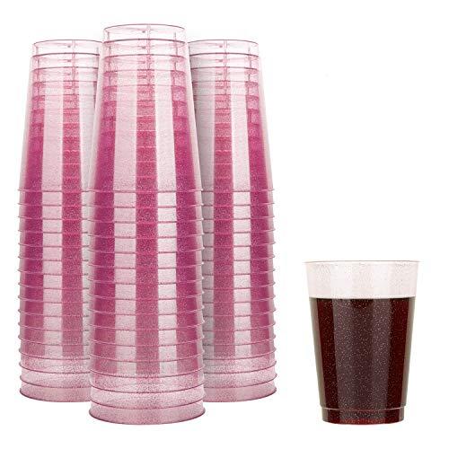 TOROTON 50 Stück Plastik Becher mit Glitzer, 350ml Wiederverwendbare und recycelbare Weinbecher, für Grillen Picknicks Camping Hochzeit Geburtstage - Rosa