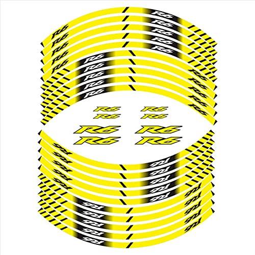Pegatinas de Rueda Interna de la Motocicleta Rim Decoración Reflectante calcomanías Aptos para Yamaha R6 (Color : 3)