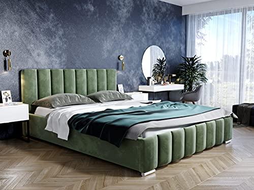 LUK Furniture Polsterbett Noemi, Bettkasten mit Gasdruckfeder, mit hohem Polster-Kopfteil, Lattenrost mit 34 Leisten, Velours-Polsterstoff in Samtoptik