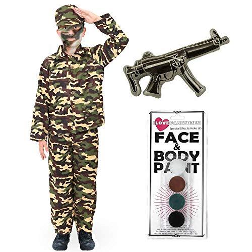 Disfraz de ejército para niños, disfraz de soldado de combate, uniforme militar para niños para la caja de vestir, fiestas de disfraces y regalos de Navidad o cumpleaños. Tamaño: grande