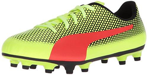 PUMA Unisex-Kids Spirit FG Soccer-Shoes, Fizzy Yellow-Red Blast-Puma Black, 6 M US Big Kid