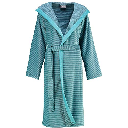 Michaelax-Fashion-Trade Cawö - Damen Walkvelours-Bademantel mit Kapuze (6425), Größe:44, Farbe:Türkis (47)