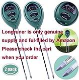 Longruner 2 paquetes 3-in-1 comprobador de suelo la humedad luz y PH acidez atención de la planta planta de interior y exterior probador del (no requiere pilas)
