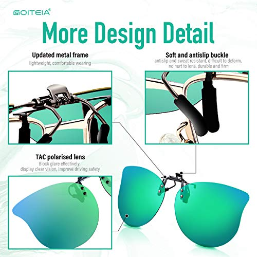 Polarized Clip On Sunglasses Over Prescription Glasses for Men Women Kids by Goiteia, Cateye Flip up Sunglasses Anti Glare UV400 Protection Suit for Driving Shopping Camping Outdoor Sports (Green)