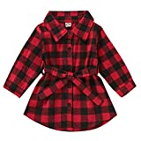 Kayotuas Toddler Kids Baby Girl Plaid Dress Long Sleeve Belted Botton Down Shirts Dresses Infant Autumn Outfits (red Plaid, 18-24 Months)