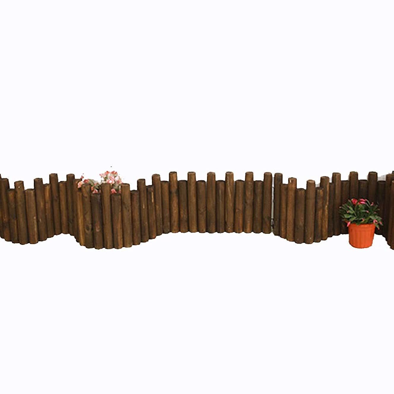 ホイップ生物学マエストロYYFANG 木製フェンス高温炭化の防蝕設計円柱木の棒の装飾的な庭、9サイズ (Color : Brown, Size : 90x50cm)