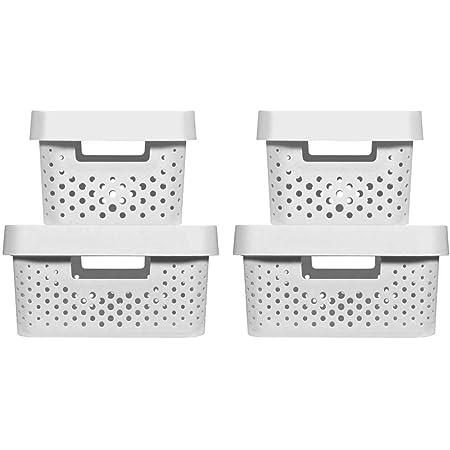 CURVER | 4 Bacs de rangement Infinity 2x(4,5L+11L) + couvercles , blanc , Plastique recyclé