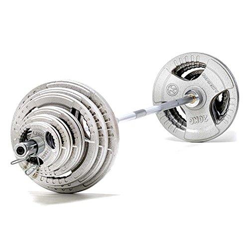 MARCY 140kg Olympia-hantelset Mit Hantelscheiben, Silber, Einheitsgröße