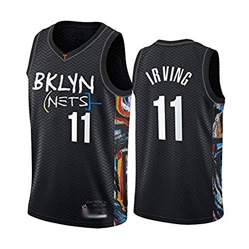 WOLFIRE WF Camiseta de Baloncesto para Hombre, NBA,Brooklyn Nets # 11 Kyrie Irving. Bordado, Transpirable y Resistente al Desgaste Camiseta para Fan (Irving BKLYN, L)