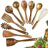 Wooden Cooking Utensils,10 Pack Kitchen Utensils Wooden Spoons for Cooking,Teak Wooden Cooking...