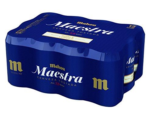 Mahou - Maestra Doble Lúpulo Cerveza Lager Tostada, 7.5% Volumen de Alcohol - Pack de 12 x 33 cl