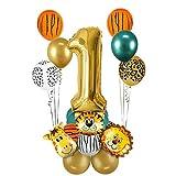 MMTX 1.Dschungel Geburtstag Dekoration Set, 1 Jahre Kindergeburtstag Deko, Gold 1 Luftballons Safari Tier Folienballons für Kindergarten Dekoration Urwald Party Geburtstag MEHRWEG