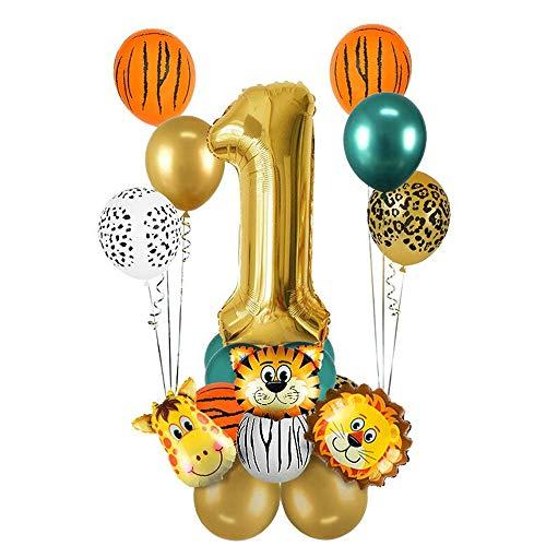 MMTX 1 an Décoration d'anniversaire dans la Jungle, 1 an décoration d'anniversaire Safari, Ballon numéro 1 en Or, Ballons en Feuille d'animaux de la forêt Sauvage, Fournitures de fête Jungle
