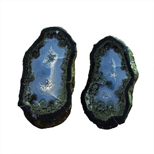 Par de gemas de ágata pequeña, tamaño 25 x 13 x 5,5 mm, par de pendientes de piedra, miniatura de geoda para bebé AG-10496