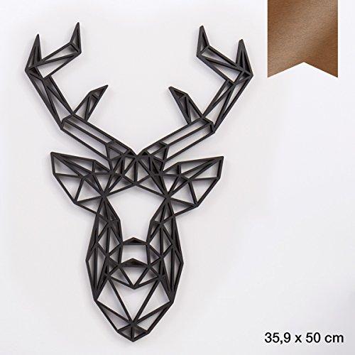 KLEINLAUT 3D-Origamis aus Holz - Wähle EIN Motiv & Farbe - Hirschkopf - 35,9 x 50 cm (XL) - Kupfer