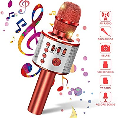 Wireless Microphone,Teaisiy Karaoke machine Portable Bluetooth Microphone with Speaker Handheld karaoke Microphone for Home Party Singing and Conference, Compatible with Android and iOS Devices(Red)