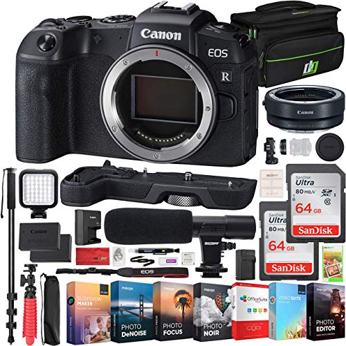 "Canon EOS RP Full-Frame Mirrorless Digital Camera Body Only with EF-EOS R Lens Adapter & Extension Grip EG-E1 and Deco Gear Case Extra Battery Kit Microphone 72"" Monopod Editing Bundle"