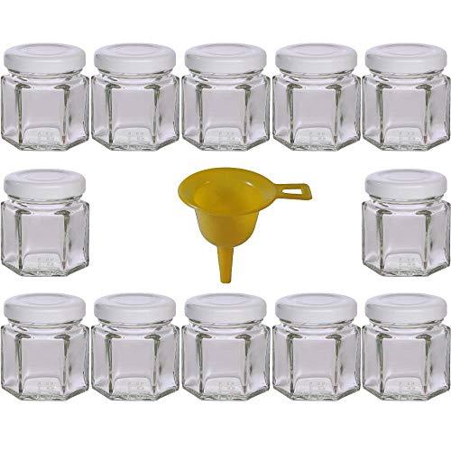 Viva Haushaltswaren - 12 x Mini Einmachglas 47 ml mit weißem Deckel, sechseckige Glasdosen als Marmeladengläser, Gewürzdosen, Gastgeschenk etc. verwendbar (inkl. Trichter Ø 12,3 cm)