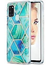 Carcasa de silicona para Samsung Galaxy A21S A217F, diseño de mármol IMD, flexible, color verde