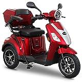 Rolektro E-Trike 25 V.2 Dreirad Rot - Elektroroller 1000W - Reichweite 50km - Seniorenmobil mit Straßenzulassung - Koffer USB
