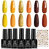 Beetles Sunflowers Gel Nail Polish Set, Brown with Red/Orange Yellow Glitter 6 Colors