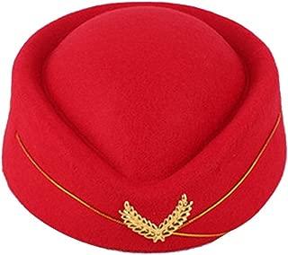 BESTOYARD Women Air Stewardess Hat Woolen Flight Attendant Hat Stewardess Cap for Costume Cosplay Musical Performance - Size M(Red)
