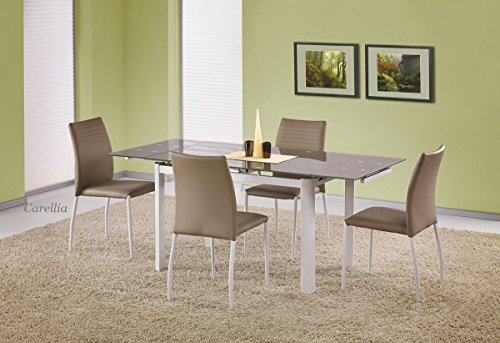 CARELLIA Table A Manger RECTANGULAIRE Extensible- L : 120 ÷ 180 CM X P : 80 CM X H : 75 CM – Beige