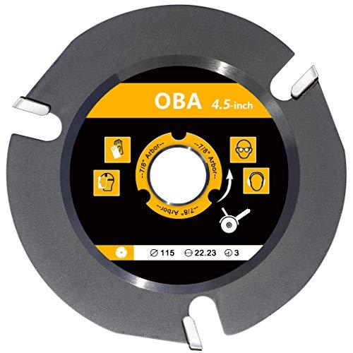 """OBA Disque de sculpture sur bois 10,4 cm - Lames de scie circulaire pour meuleuse d'angle - Lame de scie à bois de 7/8"""" - Arbor avec 3 dents en tungstène (115 mm)"""