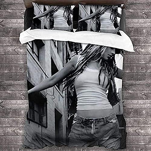 HSBZLH 3Pcs Christina Aguilera Singer Juego De Cama Unisex,Juegos De Funda Nórdica De Microfibra Transpirable Súper Suave Impresa En 3D,con 2 Fundas De Almohada Y Cierre De Cremallera