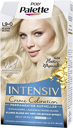 Palette Intensiv Creme Coloration Permanenter Aufheller Platin Blond L9-0, 3er Pack (3 x 135 ml)