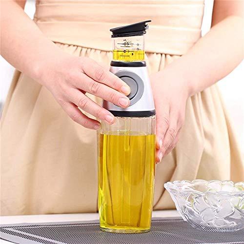 Angela Press Type Ölflasche Messflasche, Küchenglasbehälter, Olivenöl- / Essig-Gewürzspender, Gesunder Gebrauch, für die Küche, Picknick-Grill, 500ml