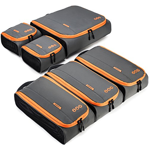 Packing Cubes, BAGSMART 6-Pcs Travel Cube Organizer Rigid Fit in Carry on Luggage, Suitcase, Backpack, 3 Sizes
