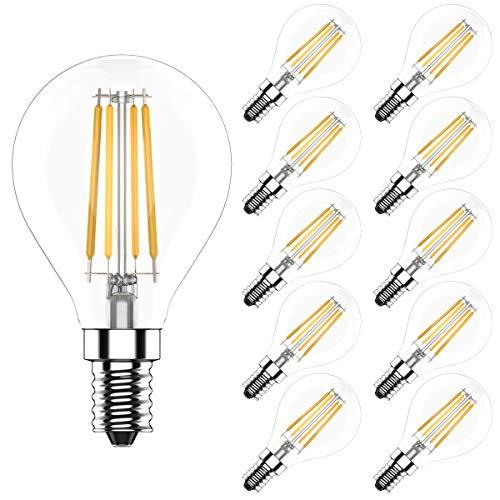 10er Pack E14 LED Lampe Tropfenform Dimmbar 4W Fadenlampe Filament Birne,Ersetzt 40 Watt Glühbirnen,Warmweiß 2700K,CRI >80, 400LM,AC 220V