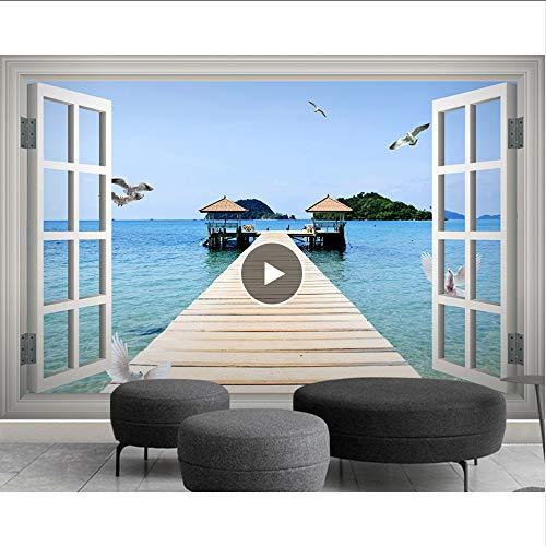 Cczxfcc Moredn 3D-foto-achtergronden voor woonkamer, landschap, ramen buiten, zee, meubels, bergen, paviljoen, decoratie voor thuis 300 x 210 cm.
