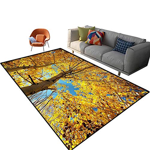 Indoor Room Nature Area Rugs,6'x 9',Autumn Trees Leaf Forest Floor Rectangle Rug with Non Slip Backing for Entryway Living Room Bedroom Kids Nursery Sofa Home Decor