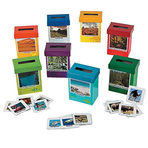 Fun Express Animal Habitat Sorting Boxes (8 Boxes Featuring Different Habitat with Photo and Facts) - Science Teaching Aids