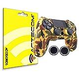 ACTECOM® Funda Carcasa + Grip Silicona Camuflaje Mando Sony PS4 Playstation 4 Camuflaje Marron