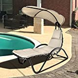 Geniqua Hanging Chaise Outdoor Lounge Chair Hammock with Sun Shade Canopy, Wide...